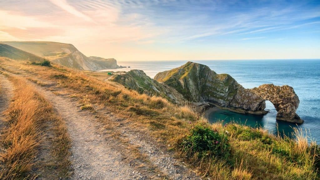 view from path of Durdle Door on Jurassic Coast Dorset