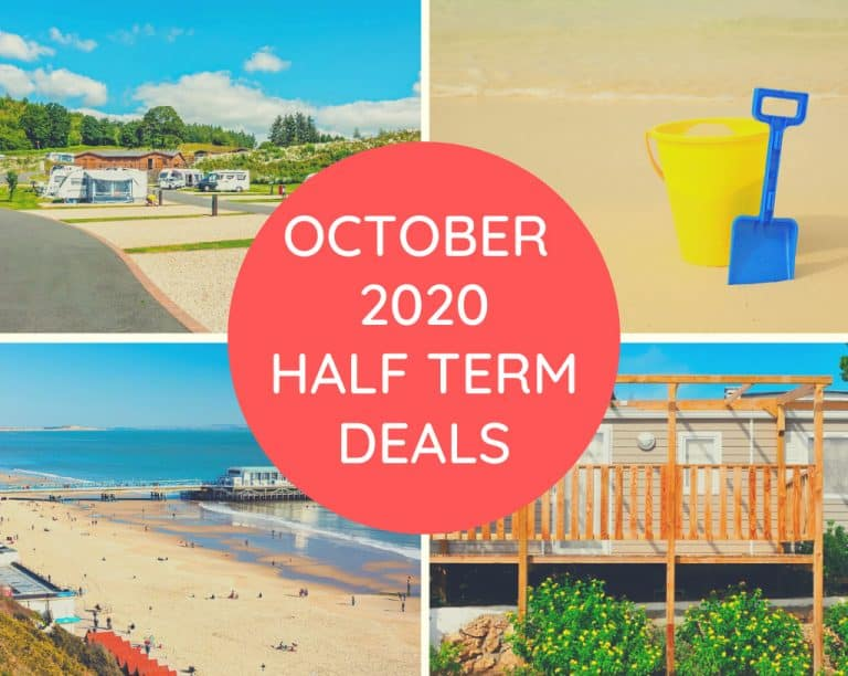 static caravan, beaches, pier, bucket and spade with text overlay saying October 2020 half term deals